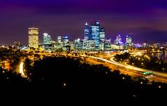 Purple Perth skyline (snowyturner) Tags: perth city skyscrapers twilight night kingspark swanriver traffictrails