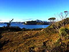 View across Spain Bay. Bathurst Channel, Port Davey. Tasmania.
