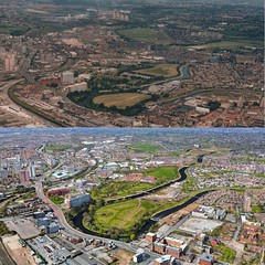 Salford Aerial 1983 & 2016 (kersalflats) Tags: salford 1983 2016 1980s 2010s kersal flats crescent irwell agecroft university peel park meadow littleton road pit colliery cooling towers