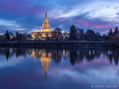 Temple at Blue Hour (James Neeley) Tags: ldstemple idahofallstemple mormontemple snakeriver jamesneeley