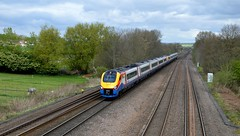 222013 heads south past Tupton with the 1C40 Sheffield to St Pancras International, 13th April 2017. (Dave Wragg) Tags: 222013 class222 meridian emt eastmidlandstrains 1c40 tupton chesterfield railway