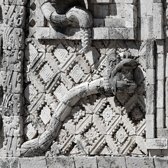 Rattlesnake relief sculpture in Uxmal, an ancient Mayan city.  Uxmal was build and flurish in VI-IX century.  Yucatan, Mexico. (cbrozek21) Tags: rattlesnakesculpture reliefsculpture uxmal mayancity mayanart mayanarchitecture mexico acientcities america maya pentaxart