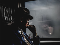 A day of reflection (The Ultimate Photographer) Tags: eurostar train reflection oldman hat trendy window seat costume blue watch tie thinking thought lost oldfashioin