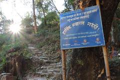 Entering Necha-Batase (-AX-) Tags: necha nepal préci pancarte sentier soleil solukhumbu