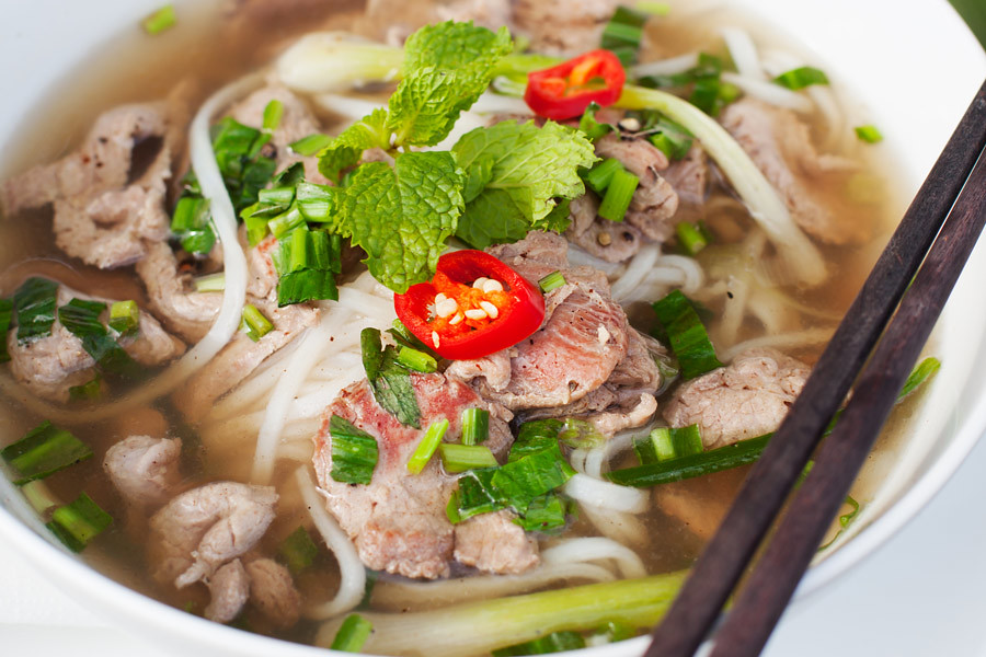 Pho or noodle soup is fresh, traditional and tasty