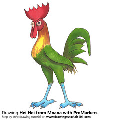 Hei Hei from Moana with ProMarkers (drawingtutorials101.com) Tags: hei moana disney rooster cartoons cartoon animated walt moanna promarkers marker promarker color coloring draw drawing drawings how sketch time lapse timelapse video speed
