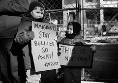 Donald Trump Immigration Ban Protest - NYC 2017 (A Screaming Comes Across the Sky) Tags: donald trump immigration ban protest nyc 2017 political politics democrat republican gop nikon tamron 2470 d800e d800 new york city newyork manhattan people monochrome crowd additional tags you safe f buil