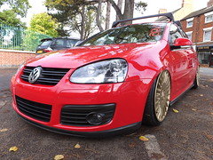 Low red (stevenbrandist) Tags: red car vw golf gold missing shiny clean illegal lowered numberplate modfied mercedesbenzwheels yx56spz