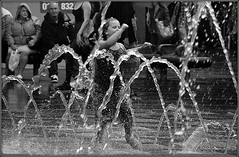 Fountain frolics (* RICHARD M) Tags: street summer playing wet water fountain childhood liverpool fun happy mono blackwhite action candid joy happiness august running summertime fountains soaked drenched merseyside williamsonsquare childrenplaying soakingwet capitalofculture childatplay thedecisivemoment wetthrough europeancapitalofculture drippingwet