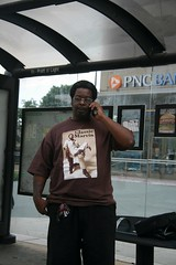 Classic Marvin (the billyllama) Tags: man cellphone maryland tshirt baltimore busstop gentleman marvingaye
