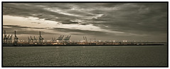 Zeebrugge (Alan-S2011) Tags: sea water night clouds port lights evening wind crane cranes turbine windturbine turbines zeebrugge windturbines
