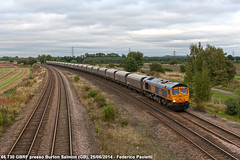 GBRf Coal (Elmeon) Tags: uk greatbritain station train diesel unitedkingdom merci railway zug 66 tyne gran bahn plain stazione treno freight carri drax pianura ferrovia 730 bretagna locomotiva carbone networkrail gbrailfreight gbrf tramoggia burtonsalmon