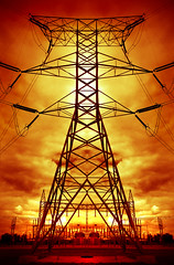 Tension (Tau Zero) Tags: electric power pylon electricity hightension redscale digitalmirror