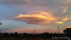 October 16, 2014 - A flying saucer (lenticular cloud) above Thornton at sunrise. (Kent Sawatzky)