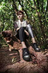 deep in the woods (CharlieGunner) Tags: autumn trees red wild nature fashion forest leaf woods shoes punk fashionphotography head deep redhead fantasy intothewild deepinthewoods