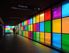 Herlev Station (Heathermary44) Tags: building glass station denmark cyclist coloured
