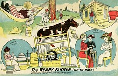The Weary Farmer (Up to Date), by Frank W. Swallow (Alan Mays) Tags: old animals cheese vintage paper typography milk funny humorous comic cattle cows farmers antique families humor newhampshire daughters illustrations nh ephemera mothers butter hammocks exeter postcards type farms machines wives swallow fonts printed fathers husbands agents weary sons typefaces holsteins treadmills dealers weariness realestateagents dairyfarms dimenovels dairyfarmers frankwswallow postcardpublishers realestatedealers wearyfarmer