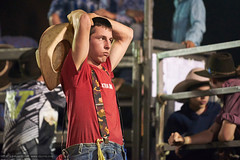 Taking a break (sbyrnedotcom) Tags: red male cowboy break australia nsw rodeo fatigue lismore
