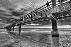 baltic pier (paddy_bb) Tags: sea sky bw seascape reflection beach water germany deutschland coast balticsea ostsee schleswigholstein 2014 scharbeutz nikond5300 paddybb