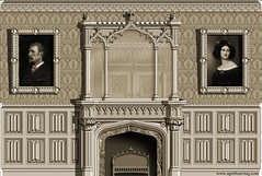 Design for Gothic-style room with fireplace (east elevation) (Ornapedia.org) Tags: architecture design fireplace handmade gothic decoration interiordesign woodcarving cornice ornamentation overmantel linenfold agrell
