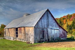 Old Barn in Vermont (Geoffrey Coelho Photography) Tags: wood old autumn red fall abandoned nature architecture barn rural america landscape countryside wooden october vermont exterior farm country hill farming rustic neglected barns newengland architectural september silo hills foliage faded pasture americana farms silos pastures roadside tinroof dilapidated bucolic starksboro metalroof barnboard hilside