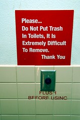 Toilet Sign (EmperorNorton47) Tags: morning autumn fall sign digital utah photo nps toilet restroom noon nationalmonument rainbowbridgenationalmonument