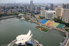 View of the Singapore ArtScience Museum, Esplanade Theatres on the Bay & Bayfront Float from the Marina Bay Sands Hotel Sky Park Observation Deck (Black Diamond Images) Tags: singapore louisvuitton observationdeck skypark marinabay thefloat singaporecity esplanadetheatresonthebay singaporeviews marinabaysandshotel artsciencemuseum louisvuittonsglassisland louisvuittonsluxuryglassisland