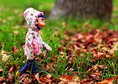 Coraline Likes to Journal (Happily Candied) Tags: autumn cute fall film halloween rain movie doll gloomy walk coat diary journal adorable creepy spooky story jacket fantasy rainy kawaii stroll bluehair dollies neilgaiman bendy coraline posable