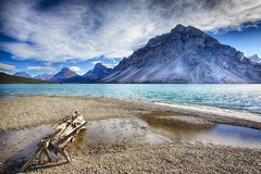 Bow Lake and Crowfoot glacier (John Andersen (JPAndersen images)) Tags: longexposure leaves clouds reflections gold fir banff geology bowlake bowvalley leefilter