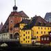 Regensburg, Am Wiedfang, In der Mitter der Brückenturm zur Steinernen Brücke, dahinter der alte Salzstadl