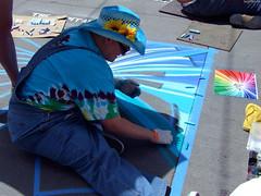 "Artist Manea VonGriffyn drawing long blue starburst shape • <a style=""font-size:0.8em;"" href=""http://www.flickr.com/photos/34843984@N07/15545323852/"" target=""_blank"">View on Flickr</a>"