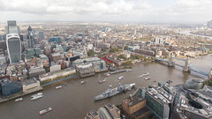 From the  The Shard viewing platform (NE) (Hector16) Tags: england building london towerbridge britain thecity normanfoster hmsbelfast canarywharf olympicpark thegherkin cityoflondon thethames thetoweroflondon stcatherinesdock thewalkietalkie londonssemblybuilding