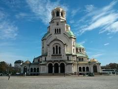 Alexander Nevski Cathedral in Sofia, Bulgaria. (aaronvandorn) Tags: cellphone bluesky sofiabulgaria alexandernevskicathedral