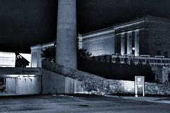 101414-221F (kzzzkc) Tags: sculpture usa silhouette nikon museumofart nightshot garage entrance kansascity smokestack missouri nelsonatkins shuttlecock oakstreet blockbuilding d7100