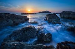 Godrevy Blues (stuckinparadise) Tags: ocean longexposure sunset sea cliff sun lighthouse seascape rock cornwall dusk saintives godrevy unitedkingdow bluhour stuckinparadise