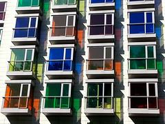Windows in Bilbao (collage42 Pia M.-Vittoria S./// OFF) Tags: windows colours shadows ombre bilbao colori spagna finestre paesibaschi hotelhesperia