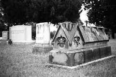 A Bishop's Tomb (TnOlyShooter) Tags: blackandwhite film church cemetery grave stone 35mm tomb stjohns bishop om1 maury mtpleasant ilforddelta100