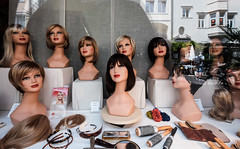 Sisters (canong2fan) Tags: italy window shop sisters hair naked europe faces eu heads hairdresser fujifilm wigs groupshot eleven bolzano stylist sudtirol xe2 fujinonxf1024mmf4
