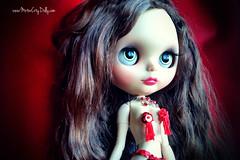 Cherie (Motor City Dolly) Tags: custom ooak blythe doll customized brunette human hair green eyes sexy pasties tassels sequins motor city dolly sandra coe burlesque exotic dancer