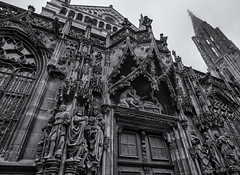 Cathédrale de Strasbourg (lncgriffin) Tags: strasbourg stossburi alsace france républiquefrançaise europe europa cathedraledestrasbourg cathedrealenotredamedestrasbourg facade historic tower cathedral architecture romanesque gothic monochrome blackandwhite travel nikon d750 zeiss distagon distagon2128zf