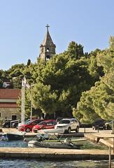 A6466DUBb (preacher43) Tags: cavtat croatia promenade luka bay our lady snow church spire steeple bell tower
