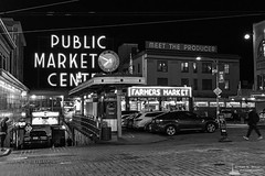 Pike Place Market After Dark, Seattle, Washington, Winter 2017 (Steve G. Bisig) Tags: blackandwhite blackandwhitephotography city iphone iphoneography mobilephotography monochrome nightphotography northamerica pacificnorthwest pikeplacemarket pnw seattle streetphotography unitedstates urban urbanphotography washington washingtonstate