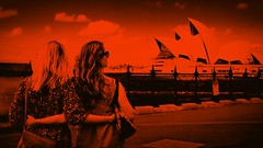 IMG_0406  Cityscape with two girls II (Rodolfo Frino) Tags: cityscape girls girl woman women opera house operahouse mono monochome australia sydney classic bright sky cielo ciel world candid orange