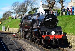 80146 at Swanage Station on 2nd April 2017 (davids pix) Tags: 80146 british railways riddles standard tank preserved steam railway locomotive swanage station 2017 02042017