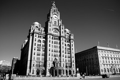 [B&W] Liver-Building, Liverpool, UK (2) (DJMads) Tags: liverpool liver liverbuilding liverbuildingliverpool bw blackandwhite albert albertdocks