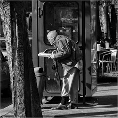 Poverty (John Riper) Tags: johnriper street photography straatfotografie square vierkant bw black white zwartwit mono monochrome budapest hungary candid john riper xt1 fuji 18135 man poor poverty trashcan food