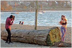 Sunset Photoshoot (HereInVancouver) Tags: photographer model portrait candid beach ocean pacific englishbay vancouverswestend sunsetlight vancouver bc canada log boats canong3x thingstodobythewater