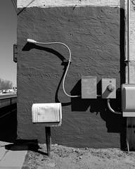 (el zopilote) Tags: 500 albuquerque newmexico cityscape street architecture powerlines signs us66 canon eos7d canonefs1018mmf4556isstm bw bn nb blancoynegro blackwhite noiretblanc digitalbw bndigital schwarzweiss monochrome