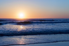 Beach Sunrise (Trent Crawford) Tags: beach sea ocean water waves sand wet reflections sky blue morning sun rise sunrise stanley tasmania australia