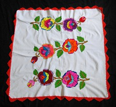 Embroidered Tablecloth Oaxaca Mexico (Teyacapan) Tags: mexican oaxacan textiles embroidered mantel tablecloth flores flowers crochet etla mixtec zapotec